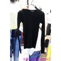 韩国女装代购 东大门进口批发 2015春款圆领纯色长袖休闲打底衫