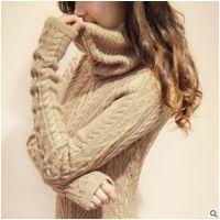 2014秋冬中长款堆堆领复古高领套头韩版新款毛衣女修身加厚打底衫