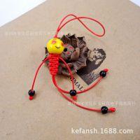 景德镇陶瓷QQ表情黄珠小人手机链挂件包挂创意流行饰品手工 红色