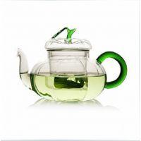 耐热玻璃茶壶 三件式过滤绿叶南瓜壶 绿叶花茶壶 玻璃茶具花茶壶
