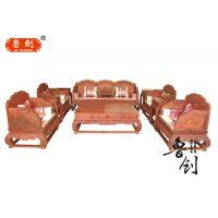 红木全实木沙发组合非洲花梨木现代中式布艺沙发坐垫古典客厅家具