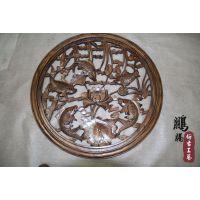 厂家直销 新款仿古东阳木雕挂件 东阳中式镂空方形松鹤图木雕挂件