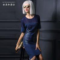 2015夏新款欧美风包臀修身显瘦短袖牛仔连衣裙不规则中长款一步裙