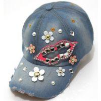 夏天韩版潮女士嘴唇棒球帽 diy珍珠花朵 带钻棒球帽牛仔布鸭舌帽