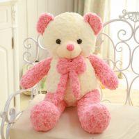 厂家批发玫瑰绒双色拼接领结熊 抱抱泰迪熊 布娃娃毛绒玩具送女生