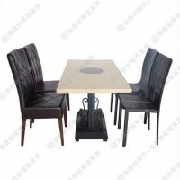 天然大理石火锅桌椅组合 白色韩式 千味涮火锅店专用火锅桌热卖