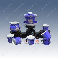 千火陶瓷景德镇全手工扒花工艺茶具套装 盖碗茶具 整套功夫茶具