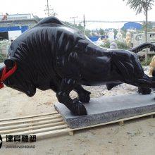 精品大理石黑色石雕牛雕刻一件
