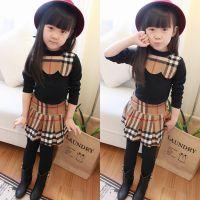 冬装新款 儿童套装/女童加厚拉绒打底衫+假两件套打底裤+短裙H