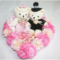 可爱情侣小熊婚车装饰家里装饰毛绒玩具摆饰