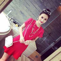 小银子2015春夏新款时尚唯美蕾丝短袖气质荷叶边连衣裙女 Q4148