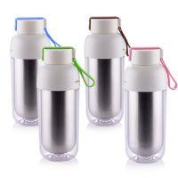 不锈钢隔热杯内胆304外层透明塑料杯子批发定制loo广告礼品杯印字