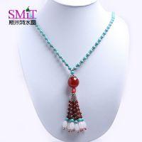 新款绿松石时尚毛衣链  搭配小银珠红玛瑙 夸张水晶毛衣链长项链