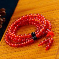 厂家直销108颗红玛瑙手链 佛珠 情侣手串批发  佛教用品