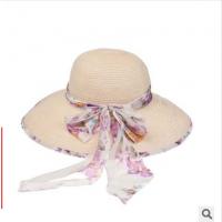 凯维帽业 丝带蝴蝶结包边女士草编夏季遮阳帽子 广州OEM订制