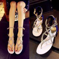 大牌同款2015夏季新款平底夹趾羊皮女式凉鞋真皮专柜特卖爆款