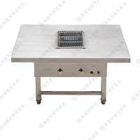 热卖定做 时尚白色火锅烤涮一体桌 古典风格无烟火锅台 致电