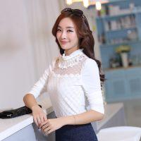 2014韩版女秋装新款韩国网纱珍珠圆领中长袖时尚修身蕾丝打底衫