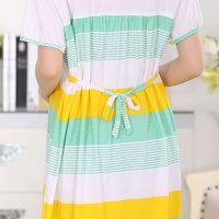 2015时尚拼接装饰女款短袖孕妇月子服睡裙夏季热销款 睡衣加盟 睡衣批发