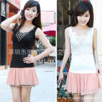 厂家直销2014新款韩版螺纹女装打底衫 钉珠吊带小背心女