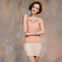 一件代发新款特价V领吊带衫韩版蕾丝拼贴修身背心纯色网纱打底衫