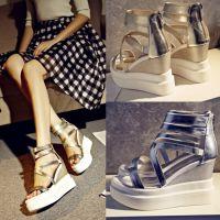 欧美时尚潮流真皮女鞋2015新款厚底松糕跟坡跟鞋凉鞋女