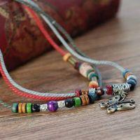 原创特色个性饰品 民族风优质土陶蜡线彩木柱项链 热卖