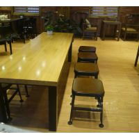 青海创客美式loft铁艺实木长桌吧台桌酒吧桌星巴克咖啡厅桌椅组合复古餐桌