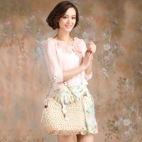 2014新款春装女装外套女韩版潮中袖薄开衫串珠显瘦打底衫短款披肩