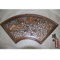 【厂家直销】东阳木雕中式扇形荷花挂件复古 批发