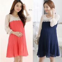 2014夏款时尚大码孕妇装韩版撞色花苞袖孕妇连衣裙8029