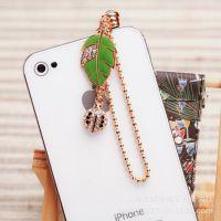 厂家自产自销新款树形状叶手机防尘塞iphone5苹果4s手机挂件