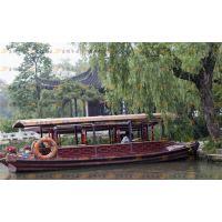 供应热卖/小木船观光船/高低篷休闲旅游船/玻璃钢包木公园景区电动船