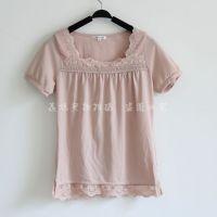 新款半袖花边方领t恤小衫打底衫日本原单女装文艺14022196
