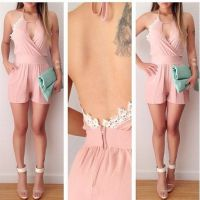 欧美夏季女装 蕾丝露背性感女装连体裤 速卖通爆款现货