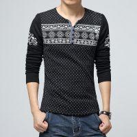厂家直销冬季男士韩版修身长袖t恤加绒打底衫毛线袖拼接