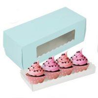 蓝色长条蛋糕卷盒子  透明塑料开窗西点盒 纸杯蛋糕盒 吐司盒批发