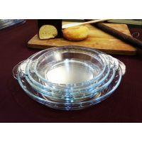 厂家直销 高硼硅玻璃烤盘 披萨玻璃烤盘 玻璃烘焙烤盘 8寸鲍鱼盘