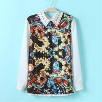 2014年新款春夏季韩版女装复古印花雪纺衫正反两穿镶钻长袖衬