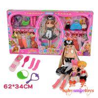 热卖芭比娃娃套装彩盒环保无毒儿童塑胶玩具时尚公主系列小芭比