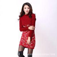 2014欧美新款女套头立领毛衣裙中长款加厚羊绒衫女修身针织打底衫