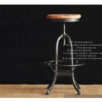 法式铁艺复古实木家具防锈复古做旧吧台椅旋转吧椅酒吧椅时尚