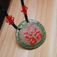 中国特色 手绘 陶瓷饰品 陶泥 复古项链 人人有喜 景德镇陶瓷项链