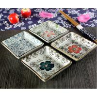 景德镇和风陶瓷餐具圆形碟子酱油日式料理小鱼味醋花碟釉下彩手绘