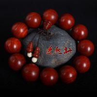 小叶紫檀鸡血红手串高密度超油润 印度小叶紫檀20mm佛珠手链