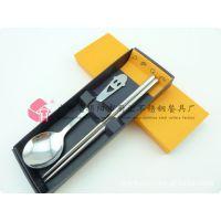厂家直销 不锈钢笑脸餐具套装 卡通勺筷两件套 笑脸餐具礼品套装