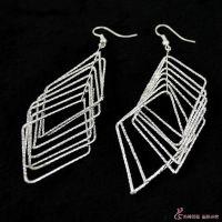 E1508简约素银耳环 韩版几何形多层菱形耳环 流苏耳环