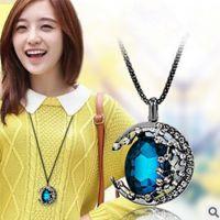 蓝色水晶毛衣链长款韩国时尚百搭复古女民族风长项链挂件
