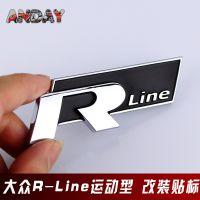 大众Rline高尔夫6CC迈腾个性R改装叶子板后备箱高质量电镀车标贴