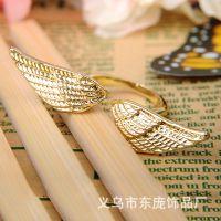 高档镀金黄金翅膀戒指 创意上开口时尚戒指 男女情侣戒指 批发